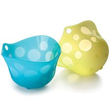 Little silicone cups for poaching eggs -- functional AND cute!  :)
