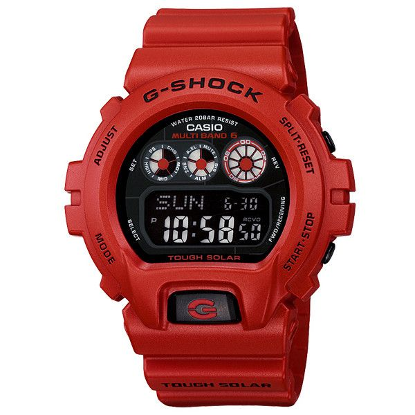 """CASIO G-SHOCK """"Burning Red"""" Collection ❤ liked on Polyvore featuring watches and boy"""