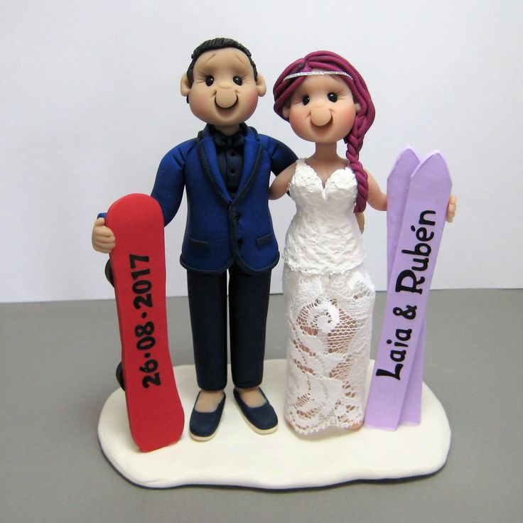 Reserved For Laia Balance Due A Custom Snowboarding Skiing Wedding Cake Topper By Clayinaround On