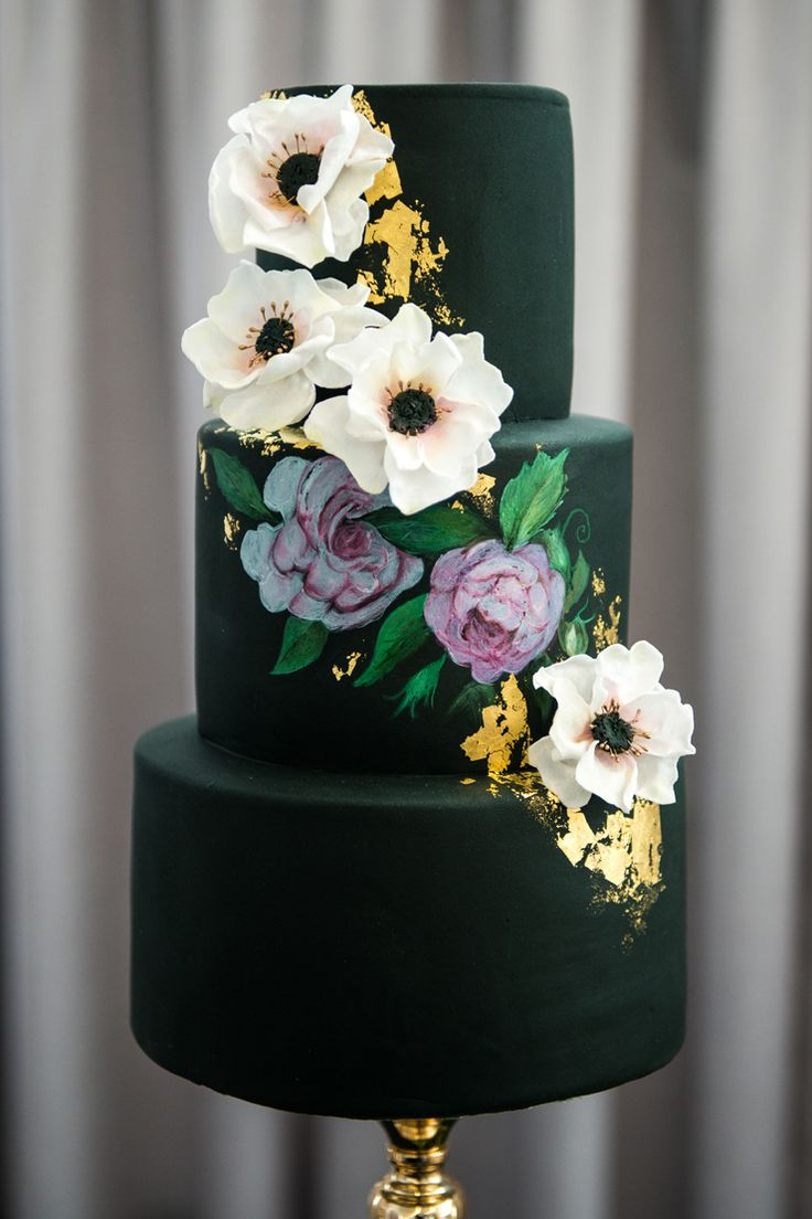Fondant wedding cake with handpainted purple roses, white sugar flower anemones and gold foil | Natasha Dupreez Photography