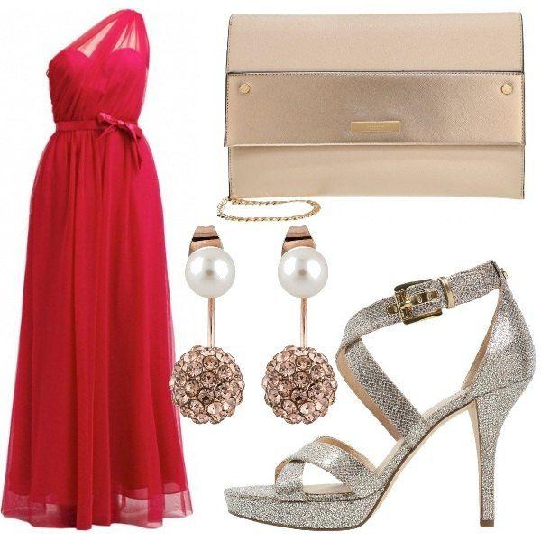 Outfit adatto per un matrimonio o per una serata di gala. Stupendo l'abito lungo monospalla con fiocco in vita abbinato a sandali Michael Kors, pochette e orecchini con perla.