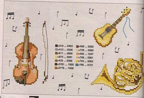 Schema punto croce strumenti musicali Tromba - Chitarra - Violino   Hobby lavori femminili - ricamo - uncinetto - maglia