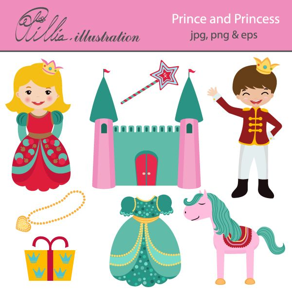 This cute Prince and Princess set comes with 8 cliparts including prince, princess, castle, magic wand, horse, gift box, golden necklace and gift box.     All graphics are made in High Quality 300 dpi and come in JPG, PNG & EPS format.     This clipart is perfect for your invitations, scrabooking, card design, paper crafts, Web Design and Many More!