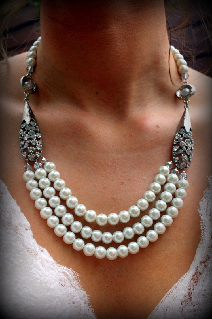 Bridal Jewelry Pearl Necklace Vintage Wedding Wedding