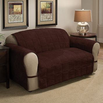 Sofa Cover Innovative Textile Solutions Ultimate Furniture Protector Loveseat Chocolate Soft Faux Suede cover wraps around the entire furniture for ultimate