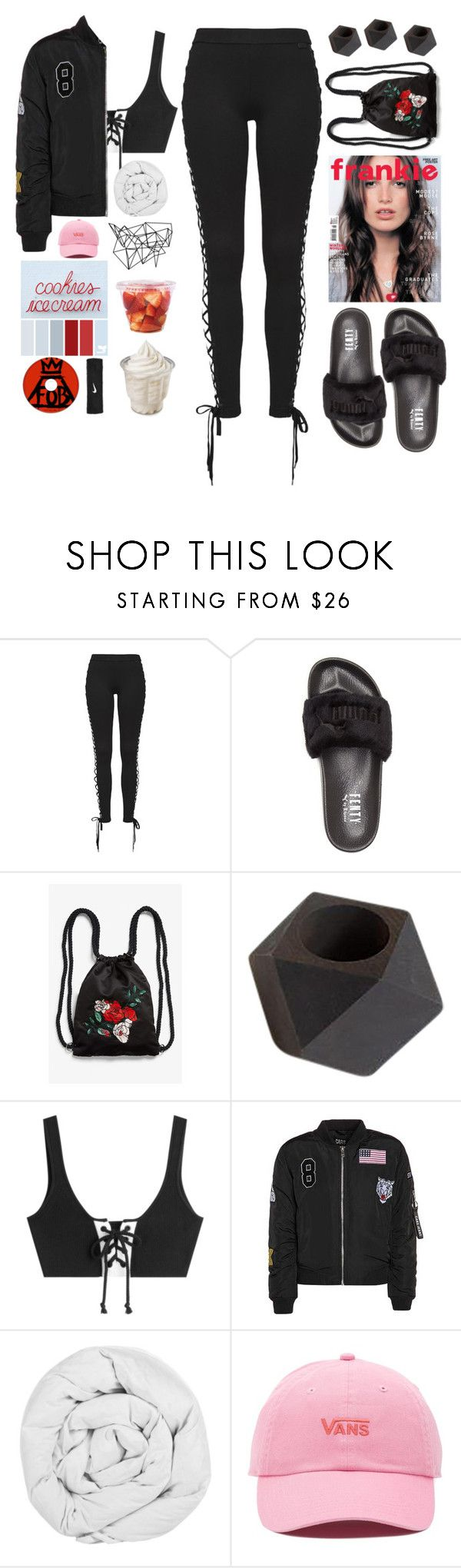 """30. stay rude"" by zorionxx ❤ liked on Polyvore featuring Puma, Monki, The Fine Bedding Company, Color Me, Vans and NIKE"