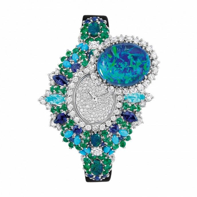 "DIOR High Jewellery- ""Exquise Opale"" - Platinum, white gold Diamonds, black Opals, Emeralds, Turquoises, Sapphires and Paraiba-type Tourmalines."
