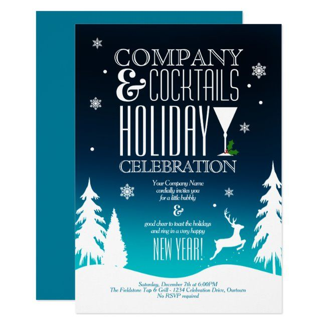 Festive Company Holiday Cocktail Party Invitation Zazzle Com With Images Cocktail Party Invitation Christmas Cocktail Party Invitation Holiday Cocktail Party Invitations