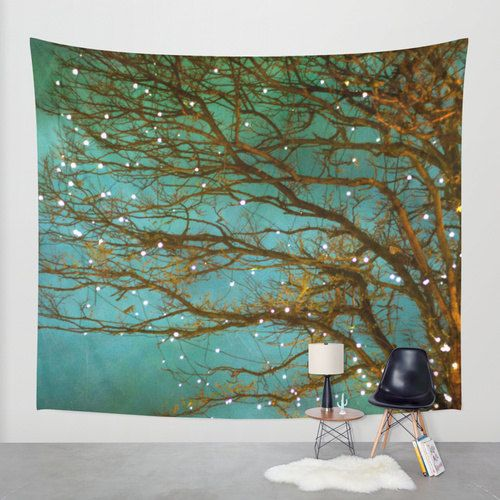 Wall Tapestry. Home Decor. Large Size Wall Art. Photo tapestry Wall Decor, woodland decor, forest, green, whimsical tree branches
