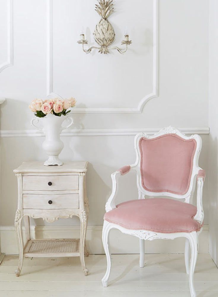 The French Bedroom Company Blog: Dreaming of Provence. The girls share their travel essentials for a south of France holiday and explore getting the Provencal look in your home for a truly French look. Shabby chic home with white painted furniture. Pink velvet chair