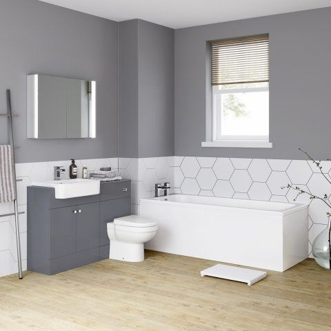 1700mm Harper Gloss Grey Combined Vanity Unit & Straight Bath - soak.com
