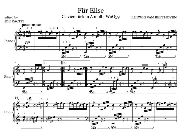 how to play fur elise with piano notes