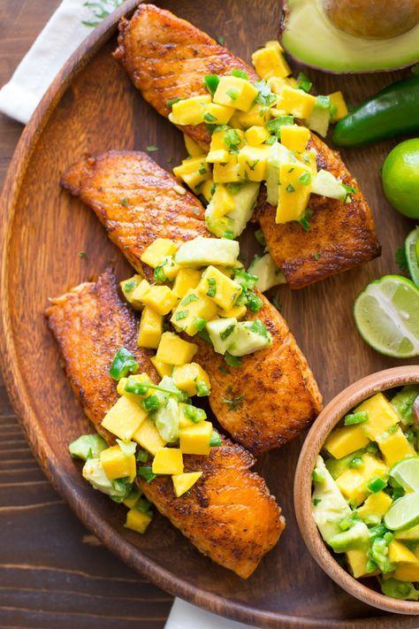 Chili Lime Salmon With Mango Avocado Salsa - This salmon is fresh, light, and simple to make!