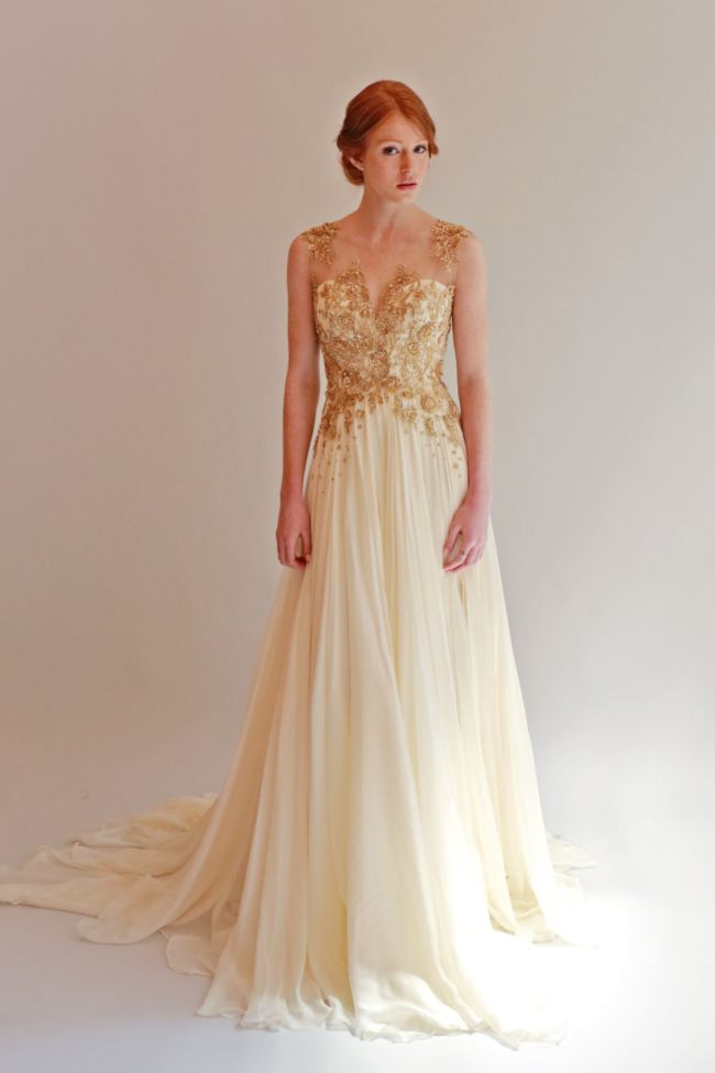 Ivory and gold beaded wedding dress - 15 Best Gold Wedding Dress Images On Pinterest Wedding Dressses