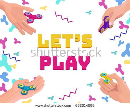 Set of hands holding and playing with fidget spinner, isometric vector background or game concept.