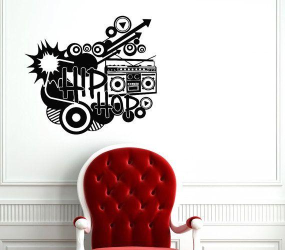 Hip Hop Old Tape Decal - Hip Hop Wall Decals Home Decor Vinyl Art Wall Decor Bedroom Music Studio Sound Recording Studio Decor SV5495