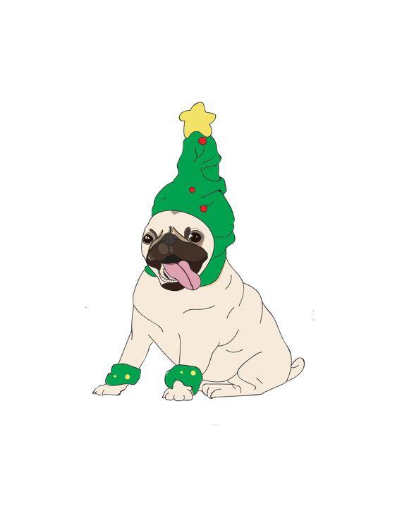 Un Carlin coquine en costume de sapin de Noël.  Je suis juste amoureuse de ce mec ! Initialement, je devais lui concevoir avec une expression mécontent (qui est tout à fait typique de pugs) mais jai décidé de Carlins même ne serait pas en mesure de résister à lesprit de Noël joyeux ! Et il sait quil a lair fabuleux.  Mesures de carte A6 Enveloppe brune inclus.  Vide à lintérieur de votre propre message personnel. Fait main et expédiés de l'Australie dans un emballage ferme. Temps de…