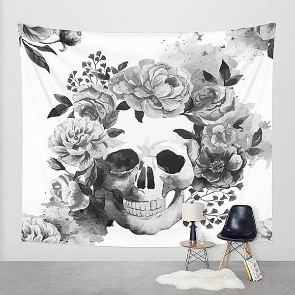 Sugar Skull Wall Tapestry Skeleton Calavera Floral Black And White 55 Liked On White Home Decorhome