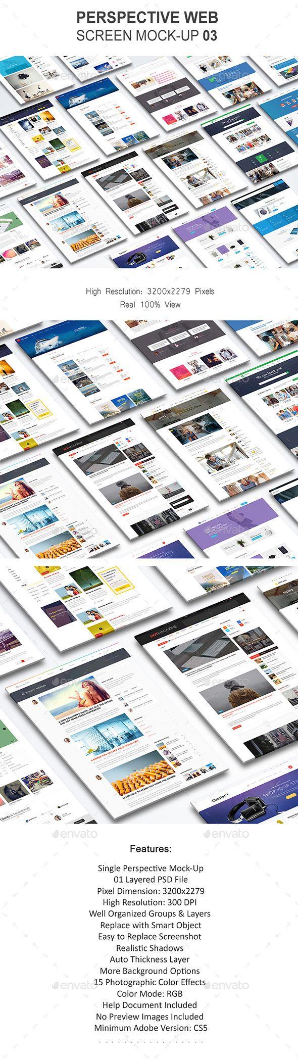 Perspective Web Screen Mock-Up 03 - Website Displays