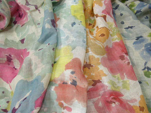 日本製 リネンガーゼ 平織り 水彩ビッグフラワープリント 4色 P[オーダーカット生地 10cm単位]【あす楽対応】【HLS_DU】【RCP】【楽天市場】