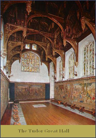 The Great Hall in Hampton Court, setting for a masked ball in  Of One Heart.