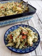 Pasta ovenschotel met zalm, spinazie en Boursin. Recept staat op mijn blog Homemade by Joke.