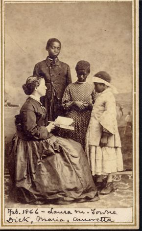 Miss Laura M. Towne was a Unitarian, an Abolitionist, and a medical student.   |    In 1862, at the age of 37, she left her Philadelphia home to travel to the Sea Islands of South Carolina.  Her purpose: to do whatever she could to help the newly freed slaves become useful and productive citizens.