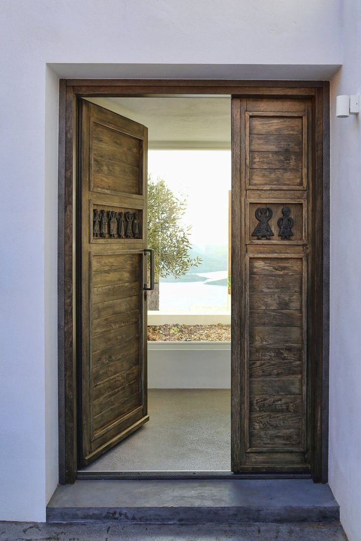 Modern wooden front doors pompano beach - Modern Mediterranean House Located In Syros Greece Designed By