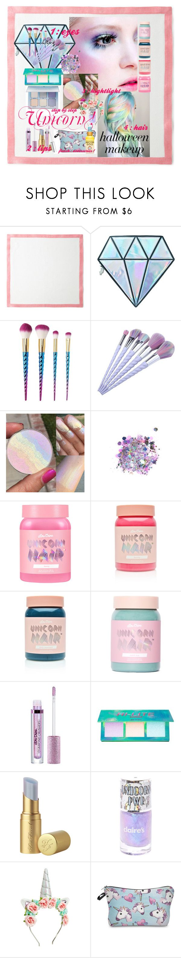 Halloween Makeup : Unicorn ! by reemily on Polyvore featuring beauté, Lime Crime, The Gypsy Shrine, Charlotte Russe, Unicorn Lashes, Too Faced Cosmetics, Deborah Rhodes and Squatty Potty