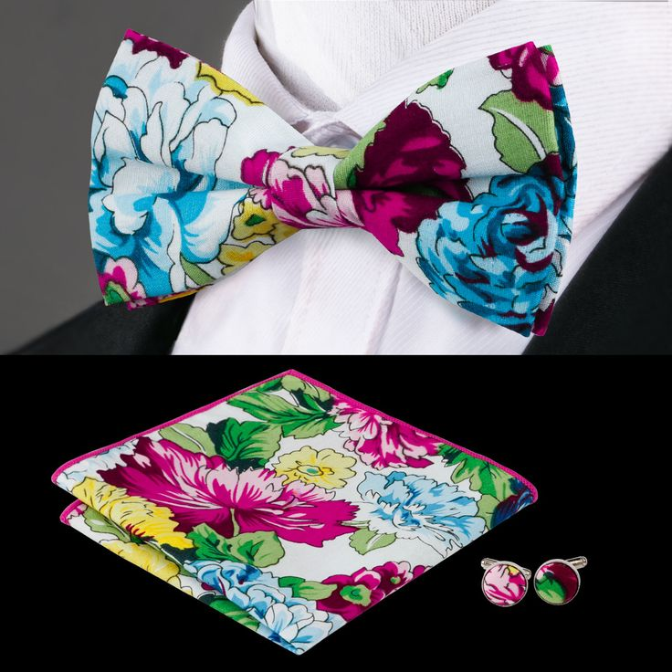 F-608 Hi-Tie New Designed Bow Tie Pocket Square Cufflinks Fashion Silk Christmas Bow Ties For Men Suits Floral Mens Bowtie Set
