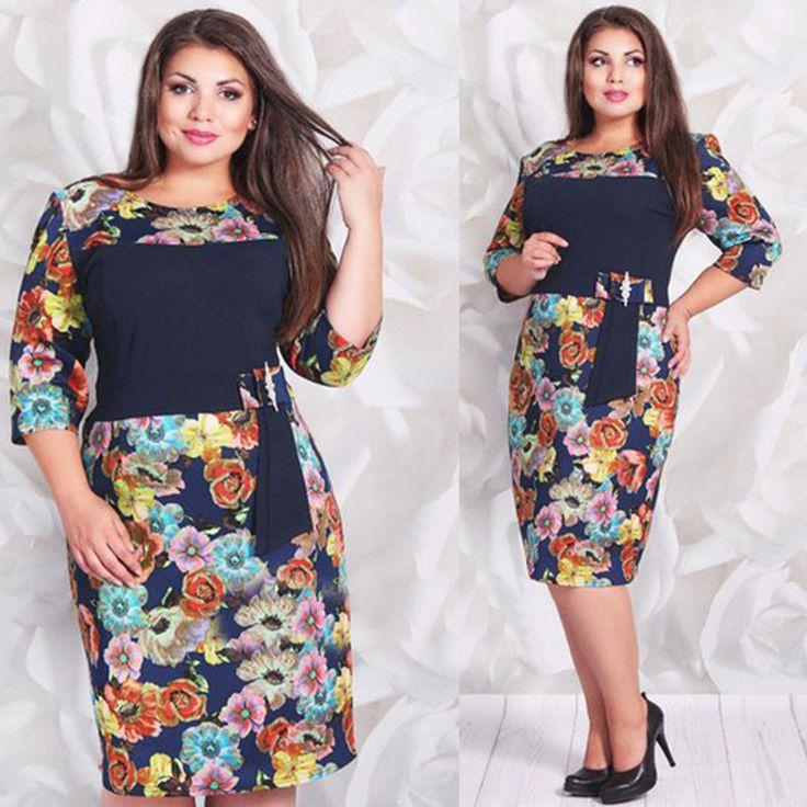 2015 autumn women fashion patchwork dress half sleeve o-neck patch design floral print knee high dress plus size