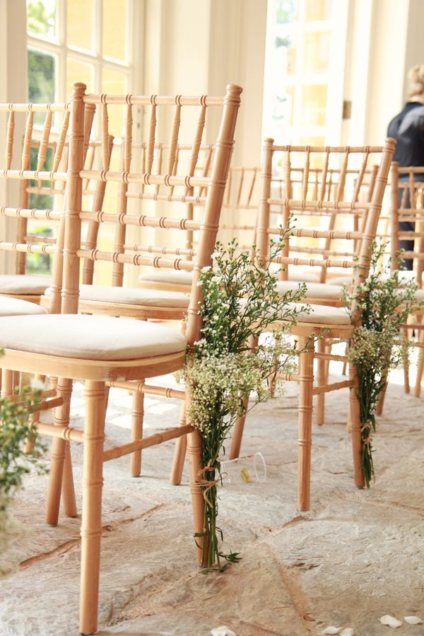 chair flowers idea..... Natural Bohemian & Woodsy Homemade Wedding