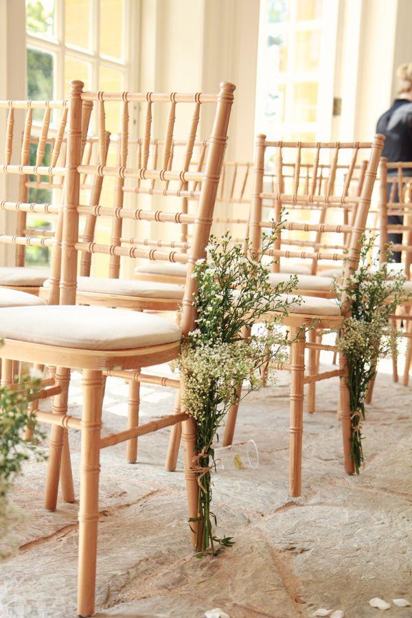 chair flowers idea..... Natural Bohemian & Woodsy Homemade Wedding