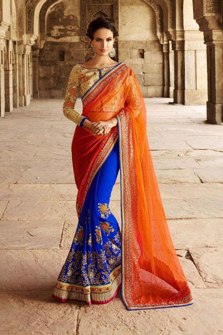 Orange Net Wedding Saree