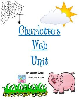 A novel study on Charlotte's Web - I created this unit with my students in mind. I wanted to incorporate fun and exciting activities into my students learning.     Included in the unit:  spelling and vocabulary lists for all chapters; report on E. B. White, spiders, & pigs; bubble map of Wilbur & Charlotte; writing a persuasive letter to Mr. Zuckerman; drawing a map of the farm; A friend is...