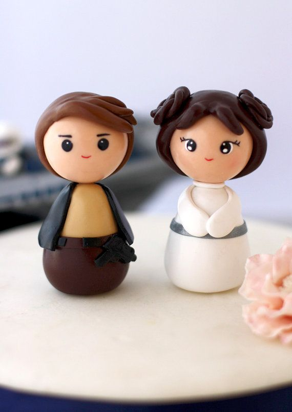Wedding cake toppers Princess Leia Han Solo Made to by Chikipita, $55.00