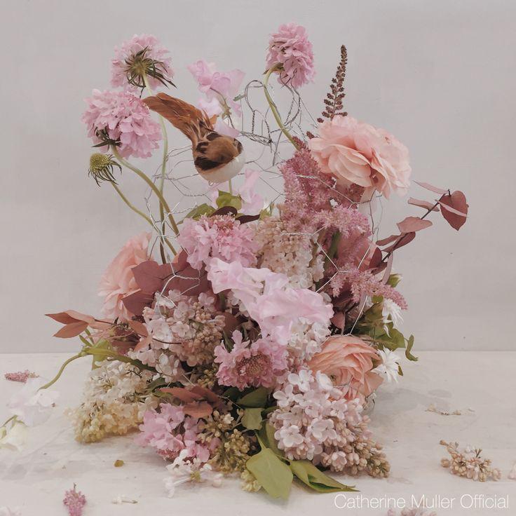 Floral birdcage  Ranonculus lilacs scabious  Vintage class Catherine Muller Flower School London
