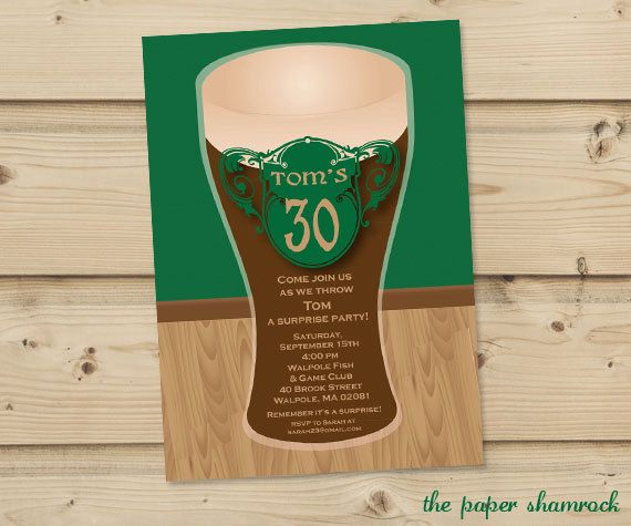 Beer Party Invitation Pint of Beer Invitation by ThePaperShamrock, $12.00