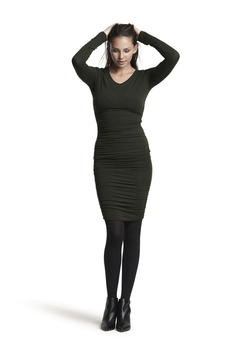 Gio wool dress and Gipsy pantyhose #bottle #green #black #fashion #wool #drapes #cosy #elegant #AW15