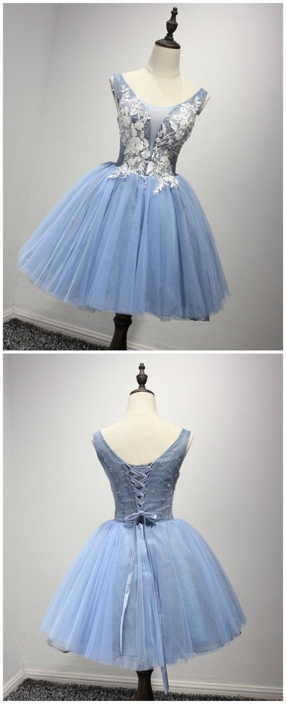ball gown homecoming dresses,short blue tulle homecoming dresses,appliques homecoming dresses