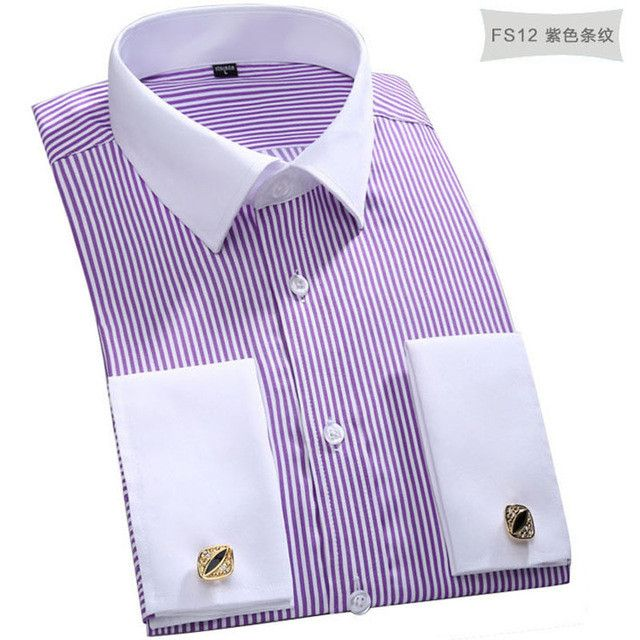 New cufflinks shirt Nail sleeve hot Brand Men's Striped Formal wedding dress brand long sleeve shirts men plus size S5xl 6xl