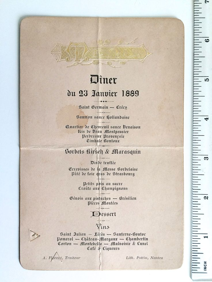 Antique French MENU 1889 FRENCH GASTRONOMY with sweetbreads recipe - embossed Gold Letters Vintage Nantes de la boutique FELIXsoFRENCH sur Etsy