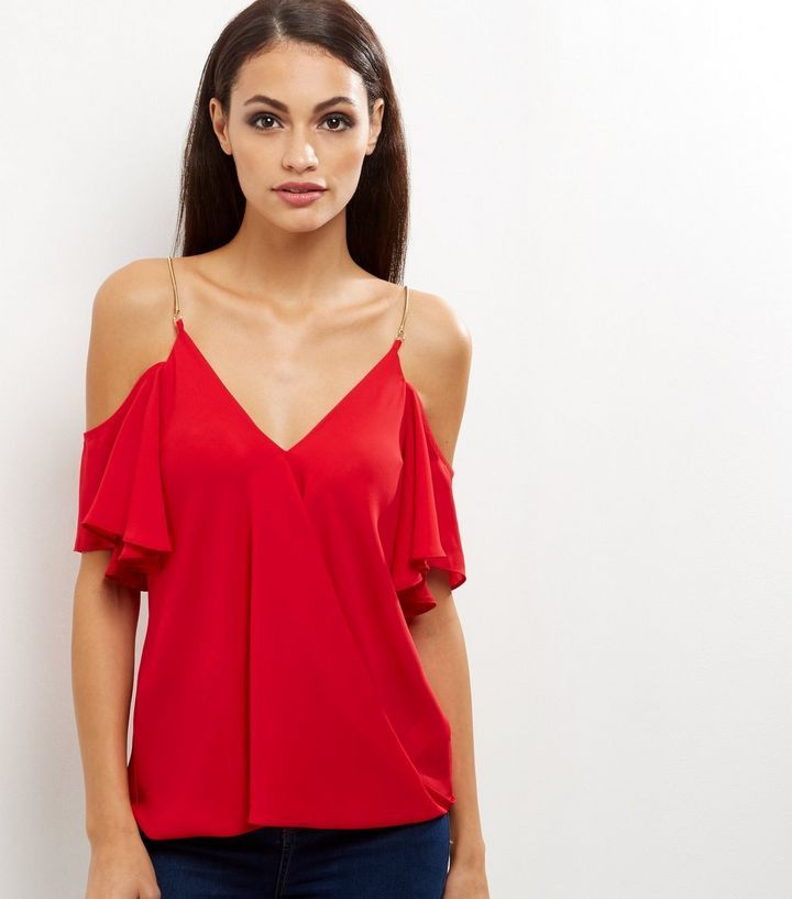 Red Chain Strap Cold Shoulder Wrap Front Top | New Look