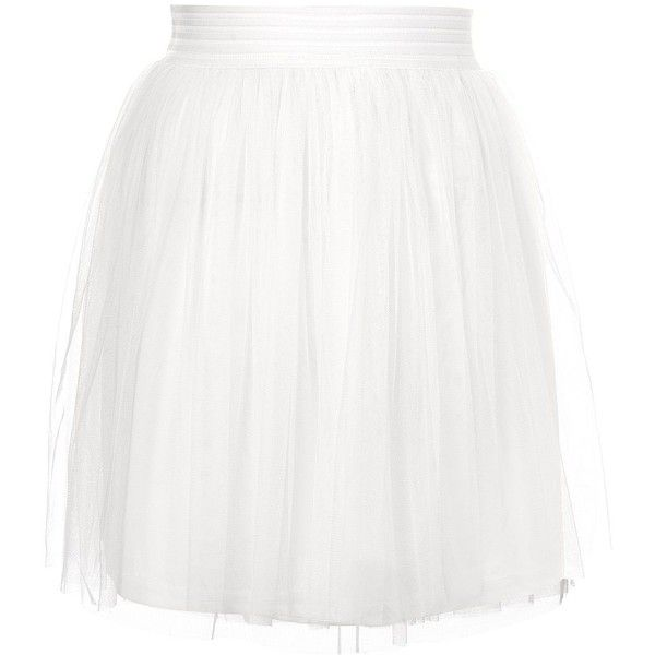 Tulle Mini Skirt by Rare (120 BRL) ❤ liked on Polyvore featuring skirts, mini skirts, white, elastic waist skirt, white mini skirt, white short skirt, short mini skirts and rare london