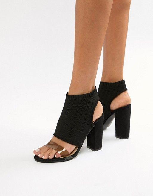 ffda74040ec PrettyLittleThing clear strap cut out block heeled sandals in black ...