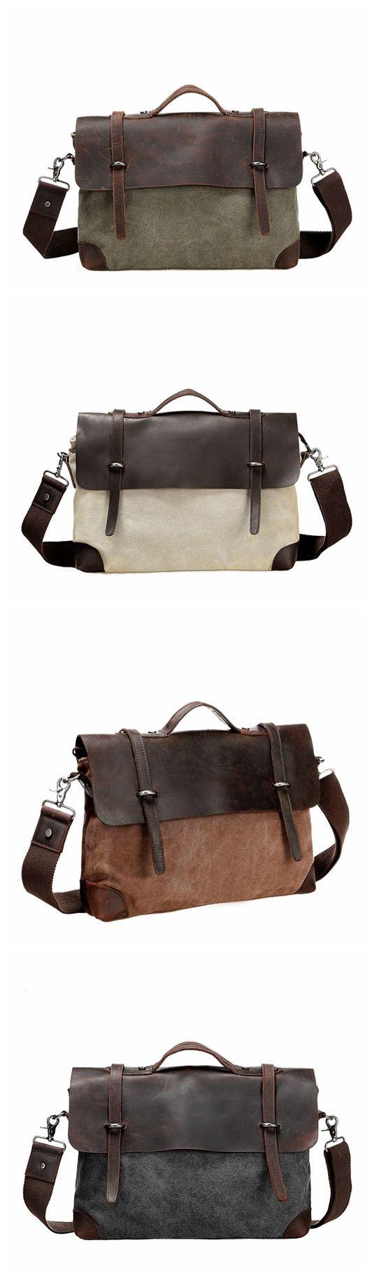 Canvas Leather Briefcase Messenger Bag Shoulder Bag Laptop Bag Tote Bag