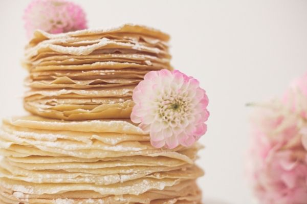powder sugared stacks of crepes