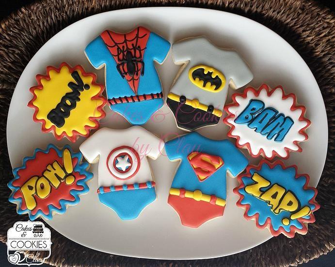 Baby Shower & Baby Announcement Cookies, Baby Super Heroes, Superman, Spiderman, Batman, Captain America Onesies by www.cakesandcookiesbyclau.com