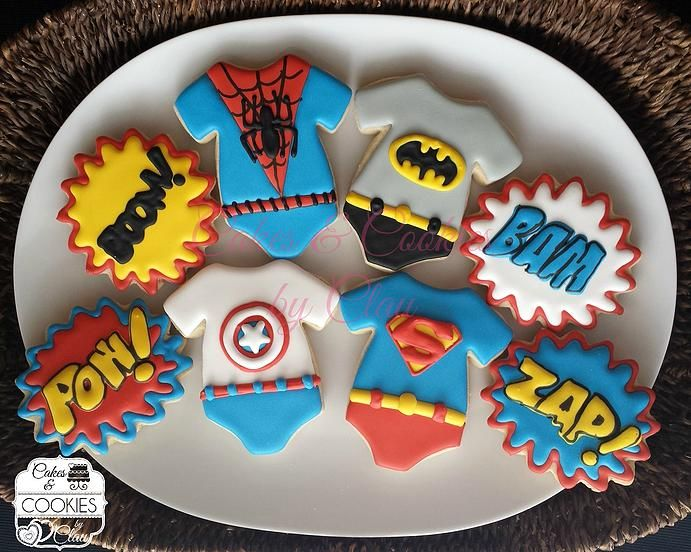 Baby Shower & Baby Announcement Cookies, Baby Super Heroes, Superman, Spiderman, Batman, Captain America Onesies by www.cakesandcookiesbyclau.com