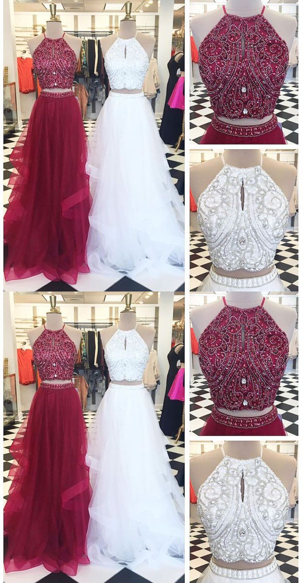white two pieces tulle long prom dress evening dresses hiprom red